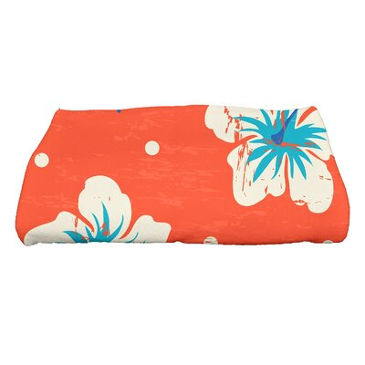 Golden Beach Hibiscus Blooms Floral Print Bath Towel Color: Orange
