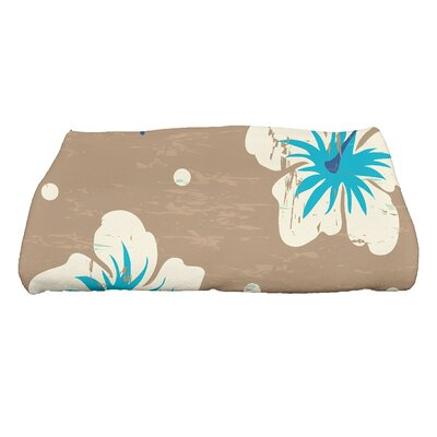 Golden Beach Hibiscus Blooms Floral Print Bath Towel Color: Beige/Taupe