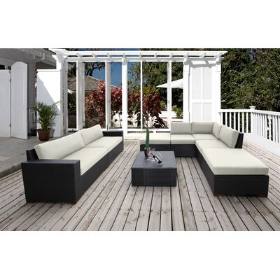 Scholtz 8 Piece Deep Seating Group with Cushion Fabric: Canvas Natural