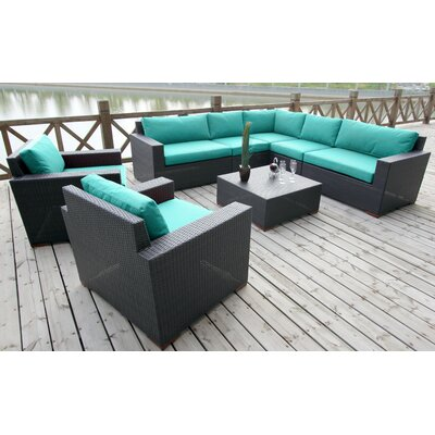 Scholtz 8 Piece Deep Seating Group with Cushions Fabric: Canvas Aruba