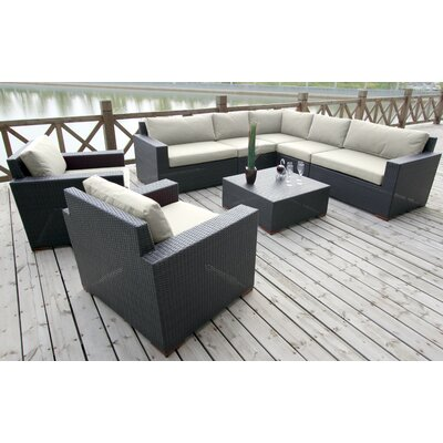 Scholtz 8 Piece Deep Seating Group with Cushions Fabric: Canvas Natural