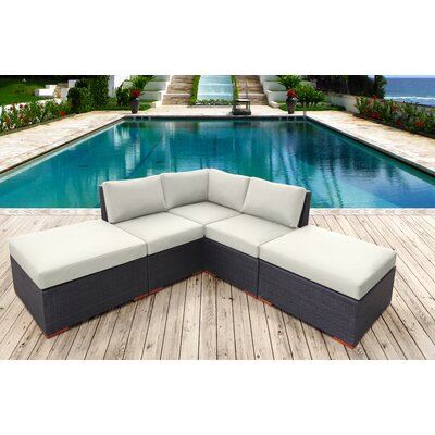 Scholtz 5 Piece Deep Seating Group with Cushion Fabric: Canvas Natural