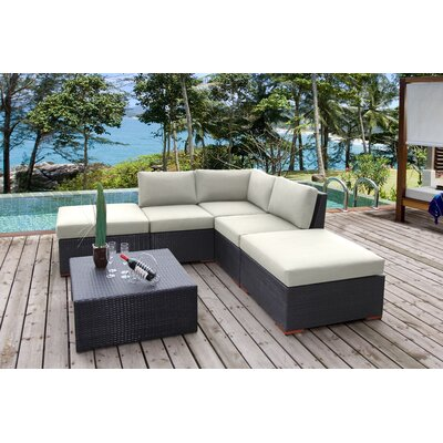 Scholtz 6 Piece Deep Seating Group with Cushions Fabric: Canvas Natural