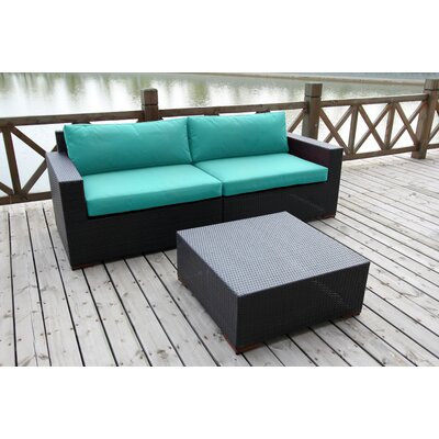 Scholtz 3 Piece Deep Seating Group with Cushion Fabric: Canvas Aruba