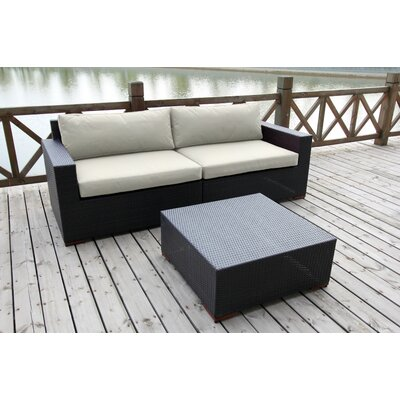 Scholtz 3 Piece Deep Seating Group with Cushion Fabric: Canvas Natural