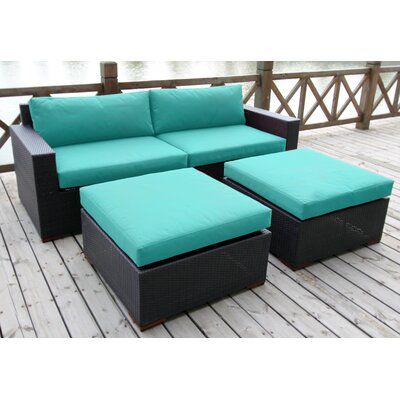 Scholtz 4 Piece Deep Seating Group with Cushion Fabric: Canvas Aruba