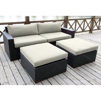 Scholtz 4 Piece Deep Seating Group with Cushion Fabric: Canvas Natural