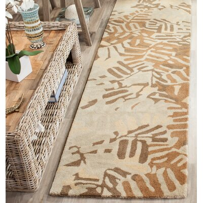 Palm Leaf Hand-Loomed Spud Area Rug Rug Size: Runner 23 x 8