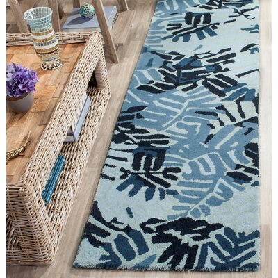 Palm Leaf Hand-Loomed Wrought / Iron Area Rug Rug Size: 9 x 12