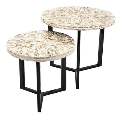 Bonita 2 Piece Shell End Table Set