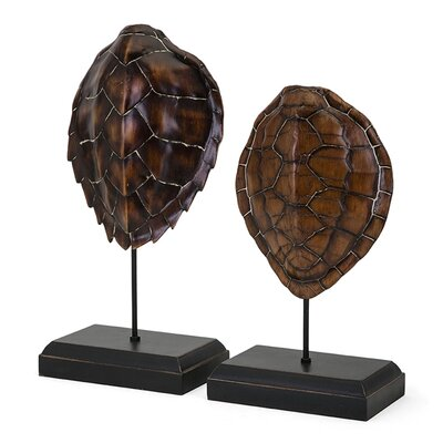 2 Piece Sanem Turtle Shells on Stand Sculture Set