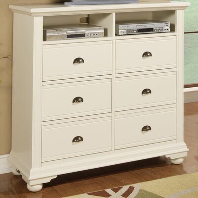 Tarquin 6 Drawer Media Chest Color: Cottage White