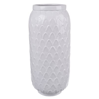 White Ceramic Vase (Set of 2) Size: 14.5 H x 7 W x 7 D