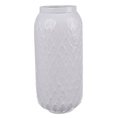 White Ceramic Vase (Set of 2) Size: 12 H x 5.5 W x 5.5 D
