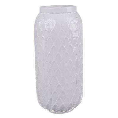 White Ceramic Vase (Set of 2) Size: 12 H x 5.5 W x 5.5 D