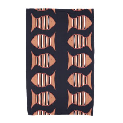 Grand Ridge Somethings Fishy Beach Towel Color: Navy Blue