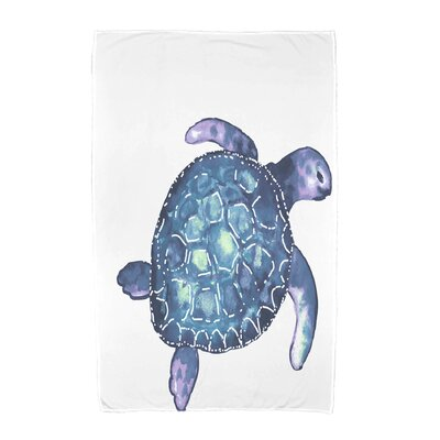 Geranium Sea Turtle Animal Print Beach Towel Color: White