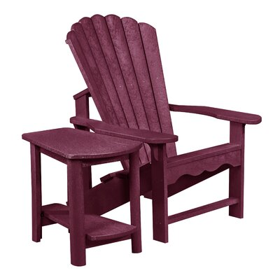 Zander Adirondack Chair and Side Table Finish: Bordeaux