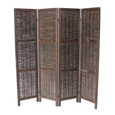 Burrillville 70 x 67 4 Panel Room Divider Color: Dark Brown