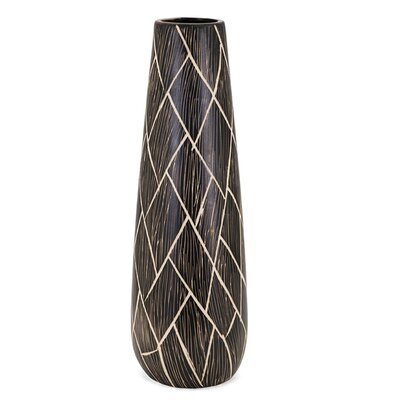 Contemporary Brown/Cream Floor Vase Size: 23.75 H x 7.5 W x 7.5 D