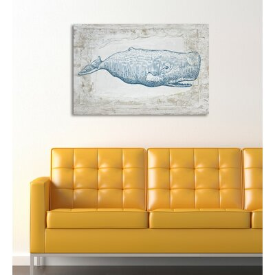 Blue Whale Framed Graphic Art on Wrapped Canvas