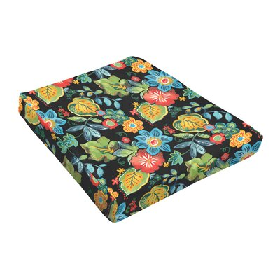 Floral Outdoor Dining Chair Cushion Fabric: Black