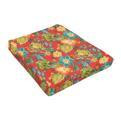 Floral Outdoor Dining Chair Cushion Fabric: Red