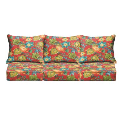 Red Floral Pillow and Cushion 6-pc Sofa Cushion Fabric: Red