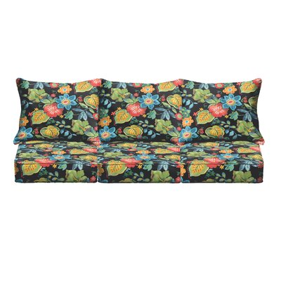 Red Floral Pillow and Cushion 6-pc Sofa Cushion Fabric: Black