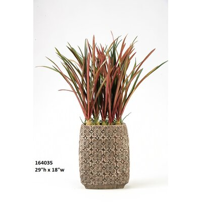 Areca Grass in Tall Oval Ceramic Planter