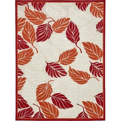 Westerly Beige/Red Indoor/Outdoor Area Rug Rug Size: 9 x 12