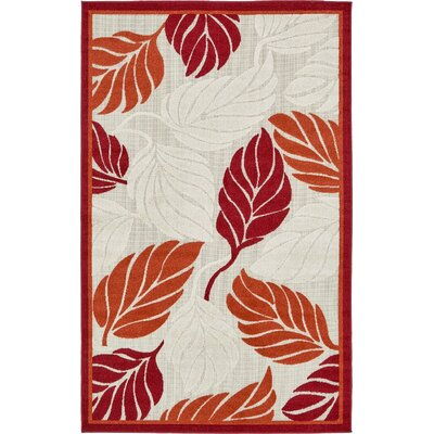 Westerly Beige/Red Indoor/Outdoor Area Rug Rug Size: 5 x 8