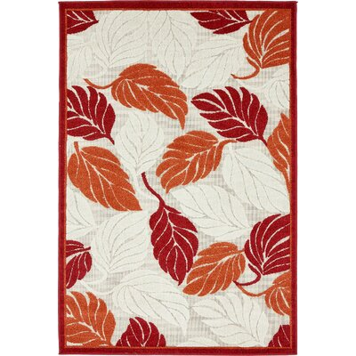Westerly Beige/Red Indoor/Outdoor Area Rug Rug Size: 4 x 6