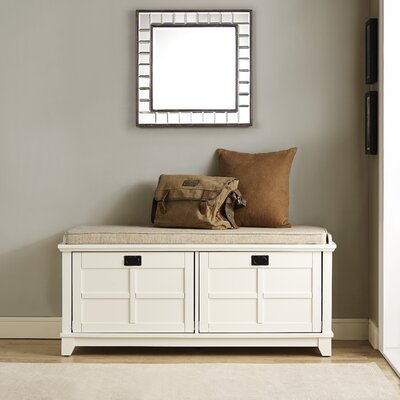 Haddam Fabric Storage Entryway Bench Finish: White