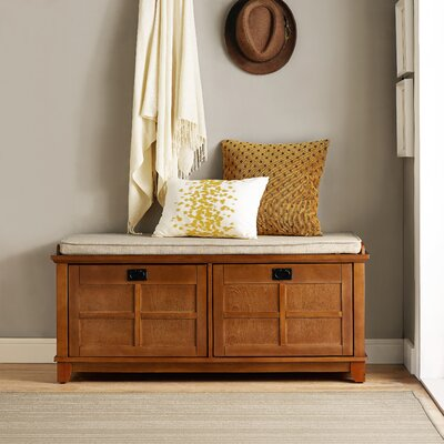Haddam Fabric Storage Entryway Bench Finish: Warm Oak