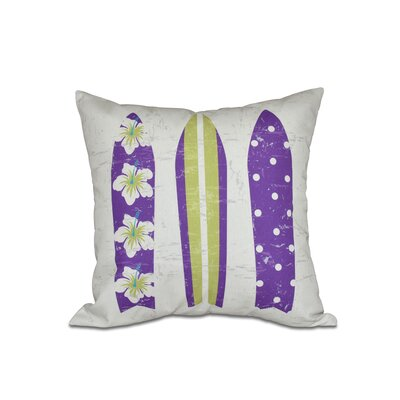 Pembrook Triple Surf Geometric Outdoor Throw Pillow Size: 20 H x 20 W, Color: Purple