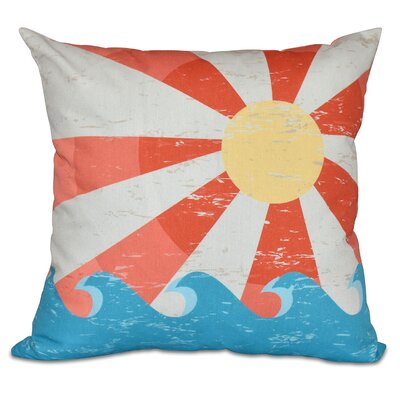 Pembrook Sunbeams Geometric Outdoor Throw Pillow Color: Orange, Size: 20 H x 20 W