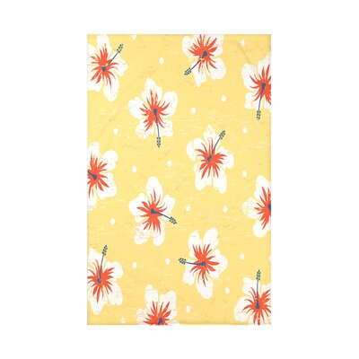 Pembrook Hibiscus Blooms Floral Throw Blanket Size: 60 L x 50 W x 0.5 D, Color: Yellow