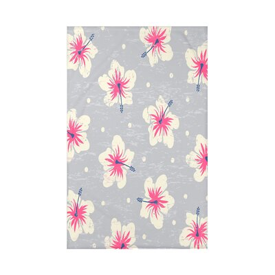 Pembrook Hibiscus Blooms Floral Throw Blanket Size: 60 L x 50 W x 0.5 D, Color: Gray