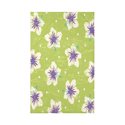 Pembrook Hibiscus Blooms Floral Throw Blanket Size: 60 L x 50 W x 0.5 D, Color: Light Green