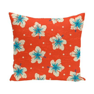 Pembrook Hibiscus Blooms Floral Throw Pillow Size: 26 H x 26 W, Color: Orange