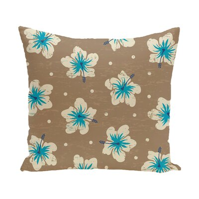 Pembrook Hibiscus Blooms Floral Throw Pillow Size: 16 H x 16 W, Color: Beige/Taupe