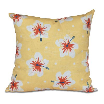 Pembrook Hibiscus Blooms Floral Throw Pillow Color: Yellow, Size: 26 H x 26 W
