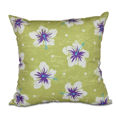 Pembrook Hibiscus Blooms Floral Throw Pillow Size: 16 H x 16 W, Color: Light Green
