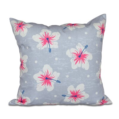 Pembrook Hibiscus Blooms Floral Throw Pillow Size: 26 H x 26 W, Color: Gray