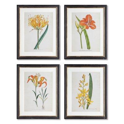 Spring Florals 4 Piece Framed Graphic Art Set