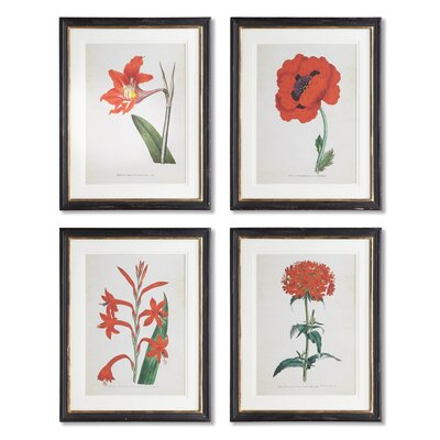 Spring Florals 4 Piece Framed Graphic Art Set