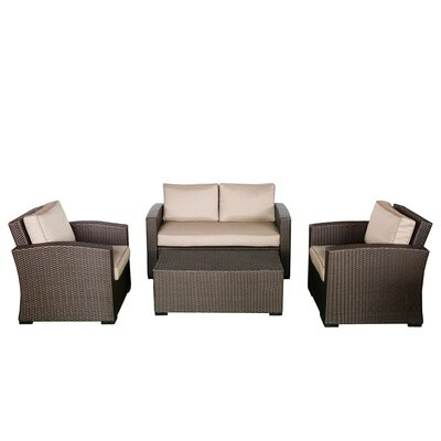 Northfield Loveseat 4 Piece Seating Group with Cushions Fabric: Beige