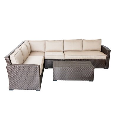 Northfield 5 Piece Sectional Seating Group with Cushions Fabric: Beige