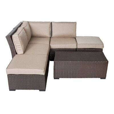 Northfield Corner Arrow Sectional 6 Piece Seating Group with Cushions Fabric: Beige